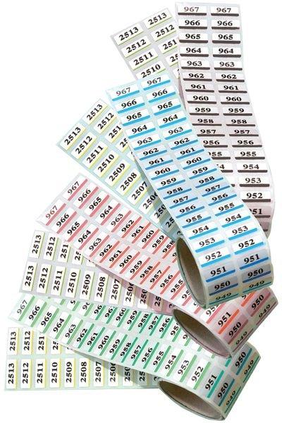 Dubbele etiketten met personaliseerbare nummering, van gemetalliseerd polyester
