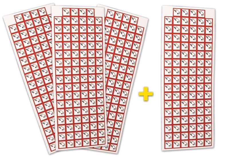 """Set stickers met CLP-pictogrammen - 3+1 vellen """"Corrosieve stoffen"""" - GHS05"""