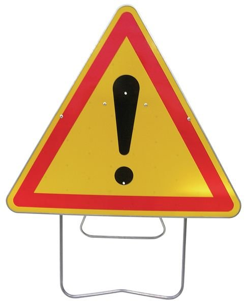 """Tijdelijke waarschuwingsborden op steun """"Gevaar (algemeen)"""""""