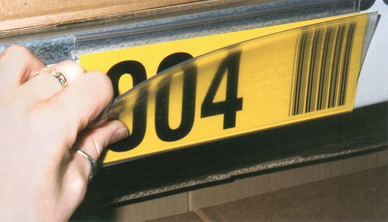 Personaliseerbare etiketten met magnetische etikettenhouders, voor magazijnrekken