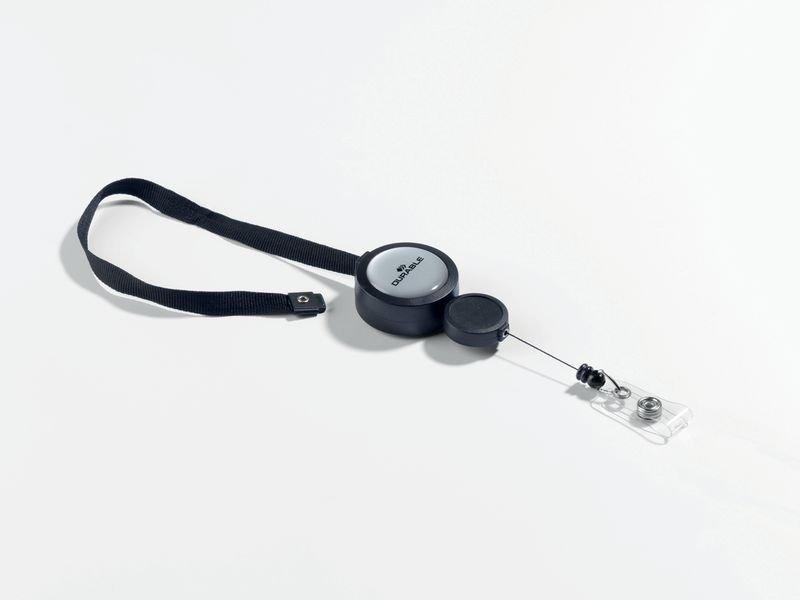 Badgehouder met oprolmechanisme en verstelbaar nekkoord