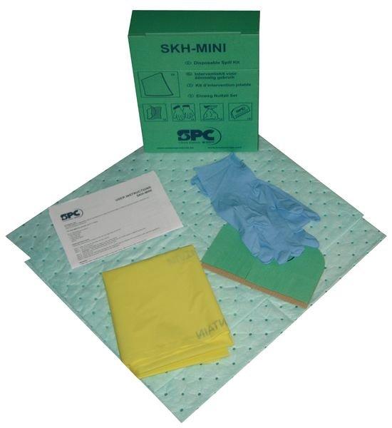 Wegwerpkit met absorptiemiddelen voor kleine hoeveelheden chemicaliën