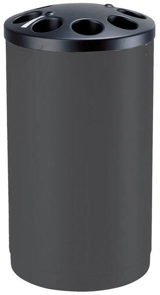 Ronde, zwarte vuilnisbak voor bekers