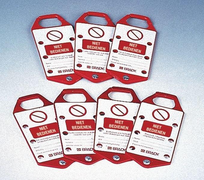 Combinatie hangslotbeugel en beschrijfbare lockout sticker