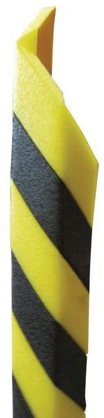 Geel-zwarte stootrand in U-profiel van polyethyleenschuim