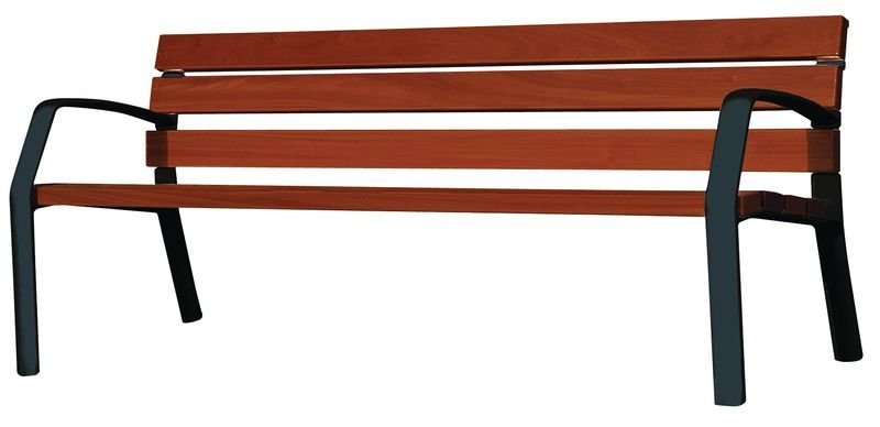 Klassieke zitbank met houten latten en armleuningen