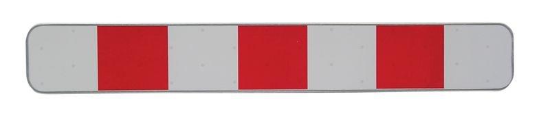 Waarschuwingsplaat met rode en witte stroken voor tijdelijke signalering