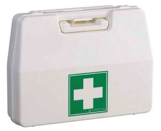 Lege, witte EHBO-wandkoffer van polypropyleen