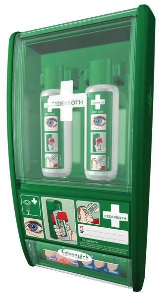 Oogspoelstation: wandbox + 2 x 500 ml zoutoplossing + wondpleisters