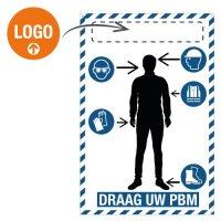 Veiligheidsborden- en stickers met silhouet: PBM verplicht