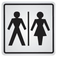 """Zelfklevende informatieborden van staal """"Toilet heren en dames"""""""