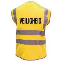 Fluorescerende veiligheidshesjes met standaardtekst op de rug