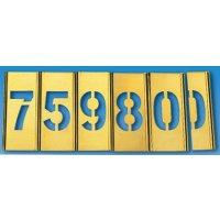 Sjablonen van messing met cijfers of letters