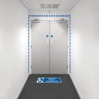 Kit visuele barrière met muurtape en vloermarkering - Veiligheidsschoenen verplicht - M008