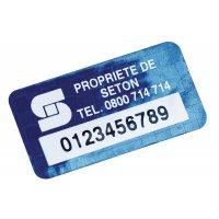 Personaliseerbare eigendomsetiketten DuraGuard® van gemetalliseerd polyester met tamper proof evidence in dambordpatroon
