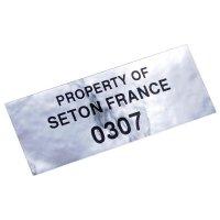"""Personaliseerbare eigendomsetiketten van zilverkleurige polyester met tamper proof evidence """"VOID"""""""