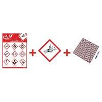 """Kit met CLP-waarschuwingsstickers en poster """"Explosieve stoffen"""" - GHS01"""