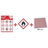 """Kit met CLP-waarschuwingsstickers en poster """"Ontvlambare stoffen"""" - GHS02"""