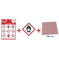 """Kit met CLP-waarschuwingsstickers en poster """"Oxiderende stoffen"""" - GHS03"""