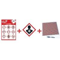 """Kit met CLP-waarschuwingsstickers en poster """"Gezondheidsgevaar op lange termijn"""" - GHS08"""