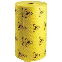Opvallend gele, absorberende rollen, met waarschuwingspictogram