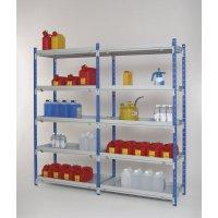 Modulaire magazijnstelling met buislegborden en lekbakken voor gevaarlijke stoffen