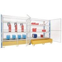 Gaaswand ter beveiliging van magazijnstelling met (middel)zware lasten