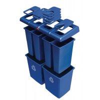Geheel van blauwe vuilnisbakken voor afvalscheiding