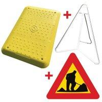 Kit: gele loopplank en bord om werkzaamheden aan te duiden