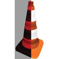 Opvouwbare verkeerskegel met leds en reflecterende stroken