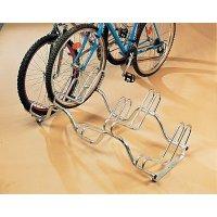 Compact fietsenrek met 2 niveaus voor grondbevestiging