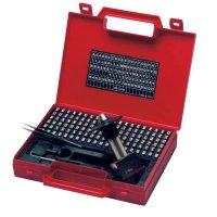 Koffer met cijfers en letters voor reliëfdruk met hamer of pers