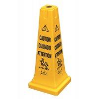 Vierzijdige waarschuwingskegel met meertalige waarschuwingstekst