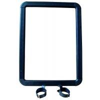 A4-houder van plastic met u-clips voor paalbevestiging