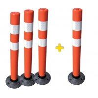 Set met 3 flexibele, reflecterende afzetpalen + 1 gratis
