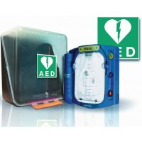 Kit: Halfautomatische HS1 AED defibrillator, signalering en kastje