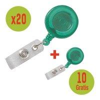 Kit: 30 badgehouders met oprolmechanisme, waarvan 10 gratis