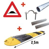 Kit: snelheidsdrempel + verkeersbord 'verhoogde inrichting' + bevestigingsmateriaal