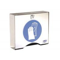 Inox opbergbox met sleutel voor handschoenen