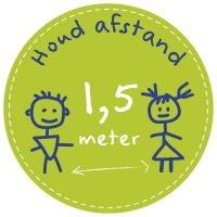 Vloermarkering met tekening - Houd afstand 1,5 meter
