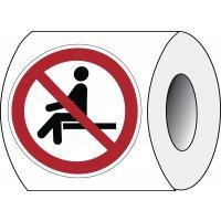 """Herkleefbare stickers op rol """"Hier niet gaan zitten"""" - P018"""