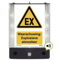 Sprekend veiligheidsbord - Waarschuwing: Explosieve atmosfeer