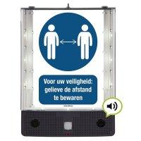 Sprekend veiligheidsbord - Voor uw veiligheid: gelieve de afstand te bewaren