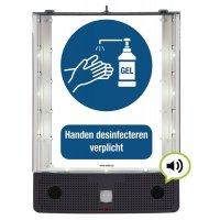 Sprekend veiligheidsbord - Handen desinfecteren verplicht