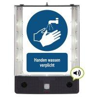 Sprekend veiligheidsbord - Handen wassen verplicht - M011
