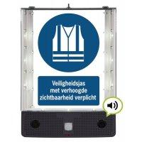 Sprekend veiligheidsbord - Veiligheidsjas met verhoogde zichtbaarheid verplicht - M015