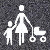 Thermoplastische vloermarkering: parkeerplaats voorbehouden voor gezinnen