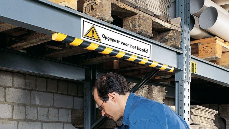 Rechthoekige waarschuwingsstickers met tekst - Opgelet voor uw hoofd - Seton