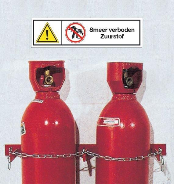 Waarschuwingsstickers met verbod - Smeer verboden - Zuurstof - Seton