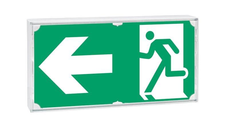 Stickers voor noodverlichting nooduitgang Lopende man, pijl naar links - Seton